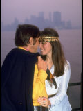 Young Couple with a Misty Manhattan Skyline in the Back Ground Premium Photographic Print by Vernon Merritt III