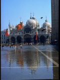 People Walking Through a Flooded Piazza San Marco Premium Photographic Print by David Lees