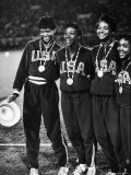 US Relay Team, Wilma Rudolph and Martha Hudson at Olympics Premium Photographic Print by George Silk