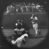 Milwaukee Braves Henry Aaron Batting During Baseball Game Premium Photographic Print by George Silk