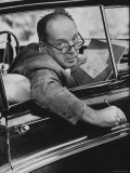 Author Vladimir Nabokov Writing in His Car. He Likes to Work in the Car, Writing on Index Cards Premium Photographic Print by Carl Mydans