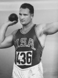 US Shot Putter, Parry O'Brien During Olympic Finals, He Took Second Place Premium Photographic Print by George Silk