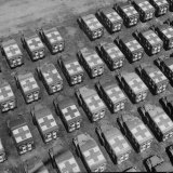 Trucks Parked in Formation on Road and Open Field for Storage Near US Ordinance and Supply Depot Fotografie-Druck von Michael Rougier