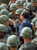 President Richard Nixon with Crowd of US Soldiers During Surprise Visit to War Zone in S. Vietnam Photographic Print by Arthur Schatz