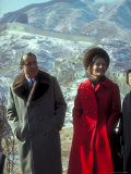 President Richard Nixon and First Lady Pat Nixon on the Great Wall of China Premium Photographic Print by John Dominis