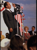 Presidential Candidate Richard Nixon on the Campaign Trail as His Wife Pat Looks On Premium Photographic Print by Arthur Schatz