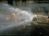 Children Cooling off in the Spray of a Firehydrant on New York City Street Premium Photographic Print by Vernon Merritt III