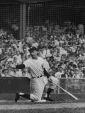 Joe DiMaggio Playing in Benefit Game at Yankee Stadium Premium Photographic Print by Ralph Morse