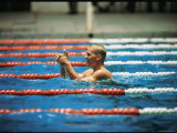 Don Schollander Gives Two Thumbs Up After Swimming Anchor on Relay Team at Summer Olympics Premium Photographic Print by Art Rickerby