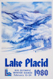 Lake Placid 1980 - Mountain Text Print by John Gallucci
