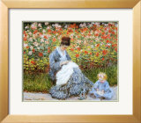 Camille Monet & Child in Artists Garden Poster by Claude Monet
