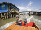 Floating Village Water Taxi, Kampong Ayer Water Village, Bandar Seri Begawan, Brunei Photographic Print by Holger Leue