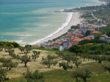 Resort Town and View of Adriatic Sea, Fossacesia Marina, Abruzzo, Italy Photographic Print by Walter Bibikow