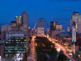 Downtown and Gateway Arch at Night, St. Louis, Missouri, USA Photographic Print by Walter Bibikow