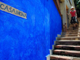 Young Women Decending Stairs Outside Blue Painted Casa Mona in Zona Centro, Puerto Vallarta, Mexico Lmina fotogrfica por Anthony Plummer