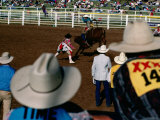 Overhead of Bull Rider from the Stands of a Rodeo, Mt. Isa, Australia Photographic Print by Michael Coyne