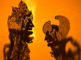 Theatre Display of Balinese Shadow Puppets or Wayang, Ubud, Bali, Indonesia Photographic Print by Philip Kramer
