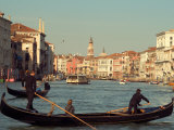 Gondoliers with Passengers in Venetian Canals, Venice, Italy Photographic Print by Janis Miglavs