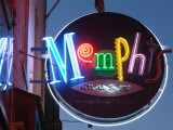 Neon Memphis Sign, Beale Street Entertainment Area, Memphis, Tennessee, USA Photographic Print by Walter Bibikow