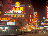 Neon Lights at Night, Nathan Road, Hong Kong, China Photographic Print by Brent Bergherm