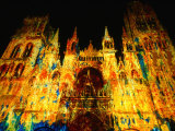 Light Show Projected on Rouen Cathedral, Rouen, France Photographic Print by John Banagan