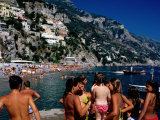 Children at Port, Spiaggia Grande, Positano, Italy Photographic Print by Dallas Stribley