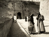 The Ramp Which Leads to the Old City in Ibiza, with Two Women in the Foreground Photographic Print