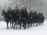 Snow Falling on Members of the Household Cavalry as They Cross Horse Guards Parade Photographic Print