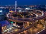Highway Traffic at Entrance to Nanpu Bridge over Huangpu River, Shanghai, China Photographic Print by Paul Souders