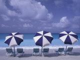 Beach Chairs and Ocean, U.S. Virgin Islands Fotografie-Druck von Bill Bachmann