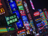 Neon Signs Line Storefronts along Nanjing Road, Shanghai, China Photographic Print by Paul Souders