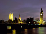 Big Ben and the Houses of Parliament at Night, London, England Photographic Print by Walter Bibikow