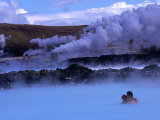 Couple in Blue Lagoon Hot Spring Bathing Pool, Reykjavik, Iceland Photographic Print by Anders Blomqvist