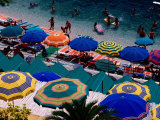 Overhead of Umbrellas at Private Bathing Area of Marine Piccola Beach, Capri, Italy Photographic Print by Dallas Stribley