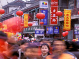 New Years Crowd on the Streets of Old Nanjing, Nanjing, Jiangsu Province, China Photographic Print by Charles Crust
