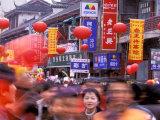 New Years Crowd on the Streets of Old Nanjing, Nanjing, Jiangsu Province, China Photographic Print by Charles Crust