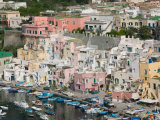 Town View of Corricella Port, Procida Corricella, Bay of Naples, Campania, Italy Photographic Print by Walter Bibikow