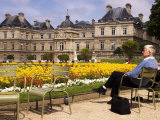 People Relaxing in Chairs in Jardin Du Luxembourg, Paris, France Photographic Print by Glenn Beanland