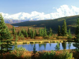 Snow-Capped Mount Mckinley and Beaver Pond, Alaska Photographic Print