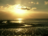 The Wash at Sunset, View Across Mudflats and Channels Snett Isham, North Norfolk Photographic Print by Mark Hamblin