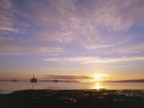Udale Bay and Oil Rigs at Dawn, Ross-Shire Photographic Print by Iain Sarjeant