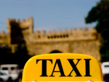 Taxi Sign in Front of Samaxi Gate, Baku, Azerbaijan Fotografie-Druck von Stephane Victor