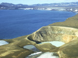 Viti Crater (With Hot Water) Beside Cold Lake Oskjuvain in Askja Caldera, Iceland Photographic Print by Richard Packwood