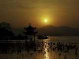 Westlake with Chineese Pavillon During Sunset, China Posters by Ryan Ross
