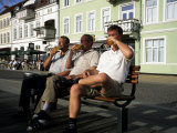 Beer Drinkers Sitting on a Bench, Sonderborg, Denmark Photographic Print by Holger Leue