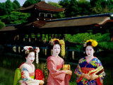 Women Dressed As Geisha with Building in Background, Heian-Jingu, Kyoto, Japan Photographic Print by Frank Carter