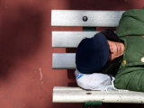 An Elderly Man Sleeps on a Bench Near Beijing's Tiananmen Square Photographic Print
