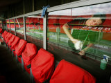 A Worker Cleans the Glass Partition Between Seats Photographic Print