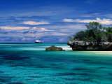 Expedition Ship Nearing Island, Seychelles Photographic Print by Ralph Lee Hopkins