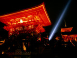 Kiyomizu-Dera Temple Buildings Lit Up at Night and Searchlight, Kyoto, Japan Photographic Print by Frank Carter